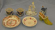 Rosenthal figurine, 2 early English pots de crème missing lids, German slipper, 2 English decorated bowls, and a Delft house.