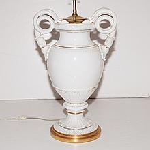 Continental Porcelain Urn-Form Lamp, Probably Meissen, 20