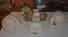 4 ceramic animal figures, donkey planter, snail tureen, (damaged), hippo planter, cat bowl, tallest 10