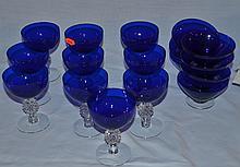 30 pcs cobalt glass tableware, 12 plates, 10 goblets, 8 desserts, ground bottoms