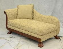 Gold upholstered Recamier with carved paw feet, 72