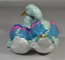 Herend green fishnet double duck figurine, 16