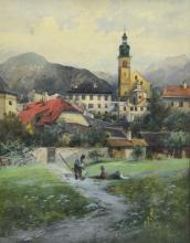 Alexander Drechsler (German, 1860-1897), watercolor, View of Mountain Town, signed and inscribed Mehr '94, 22
