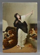 Unsigned Berlin porcelain plaque, Maiden in Den with 2 Leopards, white rose at her feet,  9 3/4