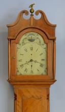 American cherry 30 hour tall case clock, wood painted dial, c 1800-1810,  88-1/2