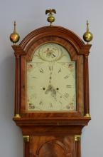 Mahogany Georgian tall case clock, rounded bonnet top with brass finials, 8 day brass movement with painted steel dial, inset fluted...