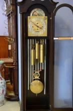 Mahogany 8 tube chiming tall clock, German movement, silvered and brass dial, 85