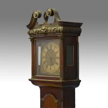 Mahogany Georgian Irish 8 day tall case clock with square brass dial signed Charles Craig, Dublin, c 1770-90, scroll top bonnet with...