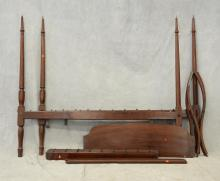 Four-poster pencil post canopy rope bed, missing bolts, approximately 80