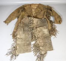 2-Piece fringed leather riding outfit, jacket & chaps (in well used condition), some beading, possibly Native American