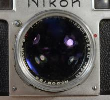 Nikon S viewfinder 35mm camera, SN 6115239, with Nikkor SC 1:1.4 f5cm Nippon Kogaku Japan lens SN 339753, with leather case and UV f...