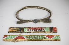 (3) Native American headbands, 2 beaded with initials, one woven animal hair with silver concho
