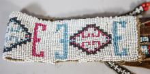 (3) Pair of Native American beaded armbands, with a beaded scarf slide, some losses
