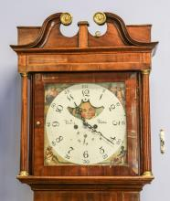 English mahogany 8 day tall clock by (Thomas) Barry, Bolton, scrolled bonnet containing an unusual square dial with crescent shaped ...
