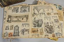 (3) Scrapbooks of over 500 Philadelphia tradecards, labels, engravings, some original sketches, belonging to Ferdinand Moras (German...