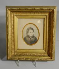 (3) C J Wahler (American, 19th Century, mixed media, Portrait of Young Girl, some signed, 4-1/2