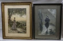 (2) Ferdinand Moras (German/American, 1821-1908), watercolor: Young Girl in Rocky Landscape, signed lower left, 20-1/4