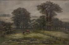 Ferdinand Moras (German/American, 1821-1908), watercolor, Pasture with Horses, signed lower right, 14-1/4