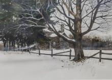 C Phillip Wikoff (American, PA/DE, 20th Century), watercolor, Beyond the Grove, signed lower right, 20