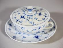 (6) Bing & Grondahl Blue Lace covered soups with saucers, #247, saucers 6-7/8