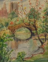 Clara Thorward (American, 1887-1969), watercolor, Central Park Scene, signed lower right, 13