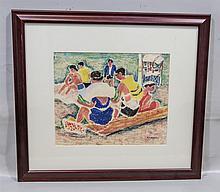 Ethel Ashton (American, 1896-1975), mixed media on paper, Beach Scene, signed lower right, 9-3/4