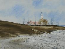 Robert Johansen (American, 1923-1991), watercolor, Coastal Landscape with Lighthouse, signed lower right, 10-1/2