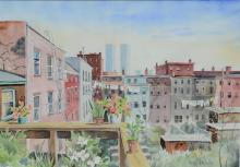 Ruth Strickling (American, 20th Century), watercolor, City Rooftops, signed lower right, 13-1/2