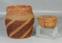 (2) Coil baskets, one Native American, both with losses, largest 10