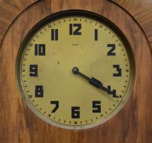 Dufa German Circassian walnut rounded top art deco double weight driven hall clock, brass sleeved weights, c 1920, 76