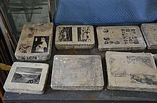 Lot of 9 Ferdinand Moras (German/American, 1821-1908) lithographic stones, largest 12
