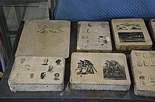 Lot of 9 Ferdinand Moras (German/American, 1821-1908) lithographic stones, largest 16