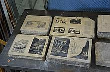 Lot of 9 Ferdinand Moras (German/American, 1821-1908) lithographic stones, largest 31