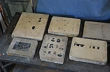 Lot of 9 Ferdinand Moras (German/American, 1821-1908) lithographic stones, largest 17-1/2