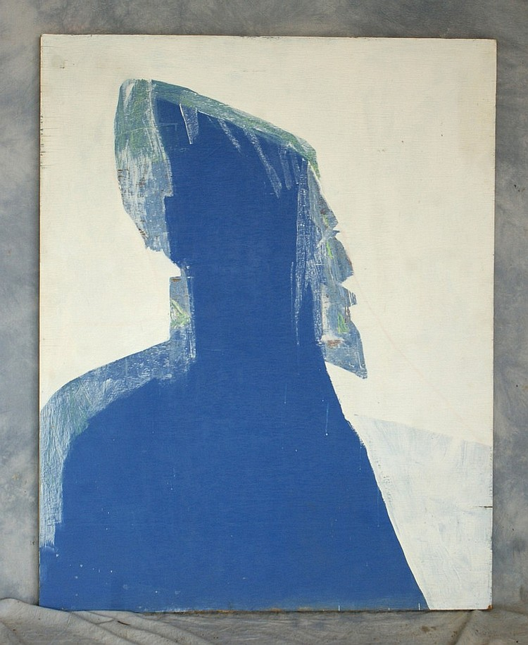 Tom Bostelle, American, PA, 1921-2005, mixed media on lauan, Blue man, 48