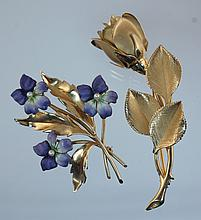 (2) 14K Yellow Gold Pins, one with 3 enameled Violets, each  with 1