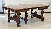 Square walnut Victorian DR extension table, spiral turned legs with paw feet, bowed carved stretchers, 52