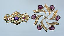 (2) 14K YG pins, one rotary leaf pin with 6 8x6 mm rhodolite garnets, 1 5/8