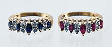 (2) 14K YG rings, one with 5 graduated marquis sapphires=0