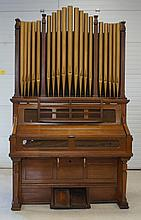 Estey Oak pump organ, faux wood organ pipe top, bellows dry, 8'6
