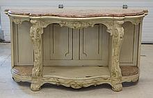 Pale Green painted Victorian style console table with brown marble top, serpentine front, 62