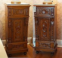 Pair of Continental Carved walnut tall commodes with ladies head carving on door and columns, 41