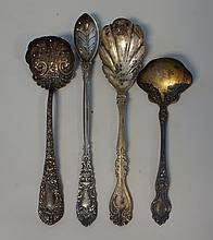 (4) ornate sterling serving pieces, Durgin Chrysanthemum pierced ladle, D&H Renaissance 1894 olive spoon, Alvin sugar shell, Wallace...