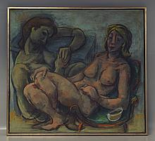 Samuel Heller, American, b. 1953, o/canvas, Two Nude Women, reclining, unsigned, 35