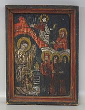 Painted wooden icon, Eastern European, 18th c, Madonna and Saints, 16 1/2