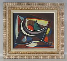 Leve??, 20th c, Bowl of Fruit Abstract, o/c, 14