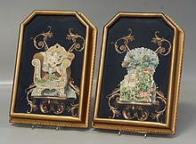 Pair of Victorian fold down 3D Valentines in shadowbox frames, 17