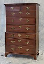 2pc Georgian Mahogany Chest on Chest, late 18th c, top with 2 short over 3 long drawers, base with 3 long drawers, dentil molding on...