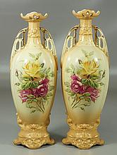 Pr Austrian porcelain art nouveau style vases with floral decoration, mark of ???,  14-1/4