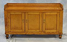 Figured Maple Sideboard with 3 doors, back gallery, 19th c, 34